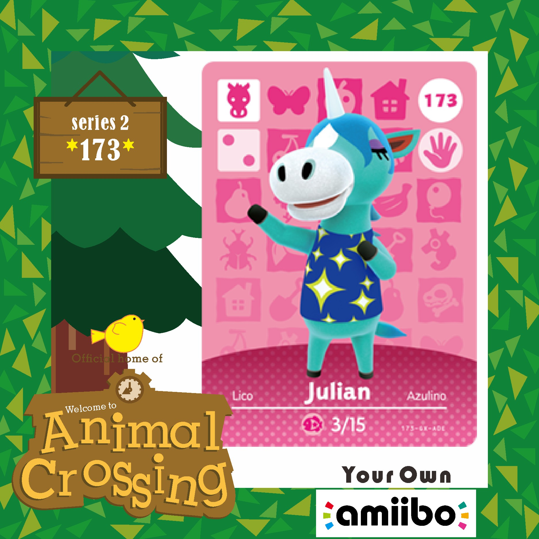 Animal Crossing New Horizons Welcome Amiibo Game  Animal Crossing Villager Amiibo  Card Julian 173 Season Set Series 2
