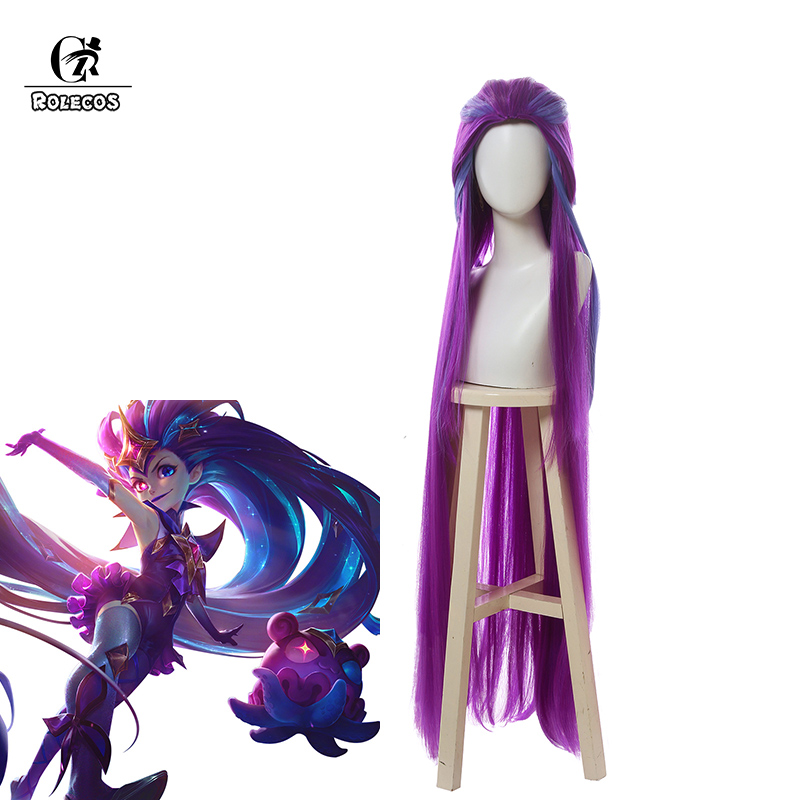 ROLECOS Game LOL Zoe Cosplay Hair LOL Star Guardian Synthetic Long Hair Zoe Cosplay Headwear 120cm Mix Color Hair For Women