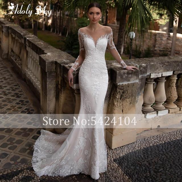 Adoly Mey Gorgeous Appliques Detachable Train Lace Mermaid Wedding Dress 2021 Scoop Neck Beading Long Sleeve Vintage Bridal Gown 3