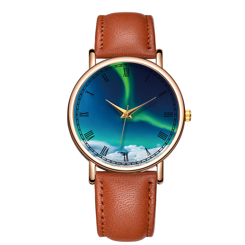 Beautiful Sky Trend Casual Simple Personality Fashion Children's Watch PU With Simple Quartz Watch Christmas Gift