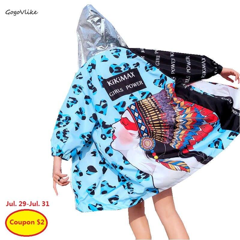 Cartoon Print   trench   coat Hooded Blue para mulheres 2019 Spring Women Thin Pocket Loose Coat Harajuku Windbreaker LT466S40