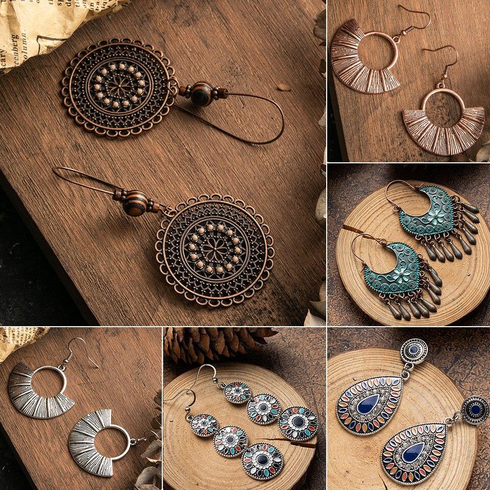 Bohemia Hollow Leaves Round water droplet Dangle Earrings for women Vintage Long Tassel Wood beads earrings Ethnic jewelry