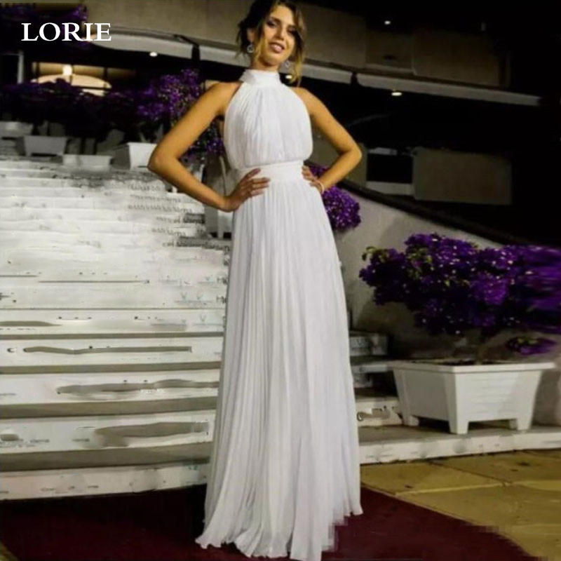 LORIE Boho Wedding Dresses Chiffon High Neck Sleeveless Cheap Bridal Gowns Vestido de novia Beach Wedding Gowns