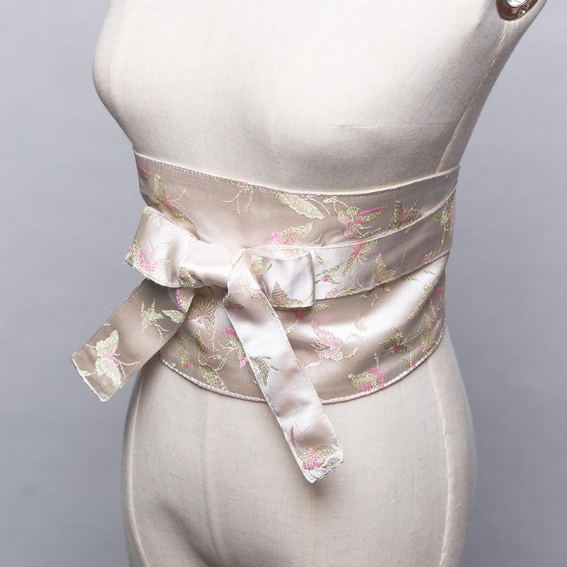 Japan Kimono Cummerbunds Women's Dress Accessory Beautiful Bronzed Floral Prints Yukata Waistbands Cosplay Wear Vintage Style