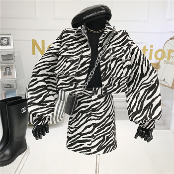 Retro Zebra Print Fashion Suit Female 2020 Autumn New Cropped Jacket+ High Waist Skirt Two-Piece Set Streetwear Skirt and Top a girl's two piece suit fashion streetwear leopard print long sleeve hooded top and short skirt girls clothing set toddler suits