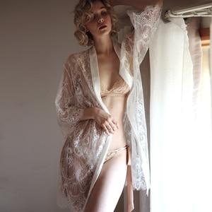Image 3 - Akşam seksi dantel elbise tül ile bağlı külot pijama elbise iç çamaşırı uzun kollu gecelik pijama kadın nedime bornoz