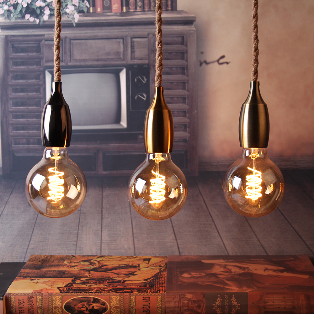 Retro Hemp Rope Pendant Lights E27 Vintage Nordic Loft Creative Pendant Lights Industrial Light Fixtures For Decor Restaurant