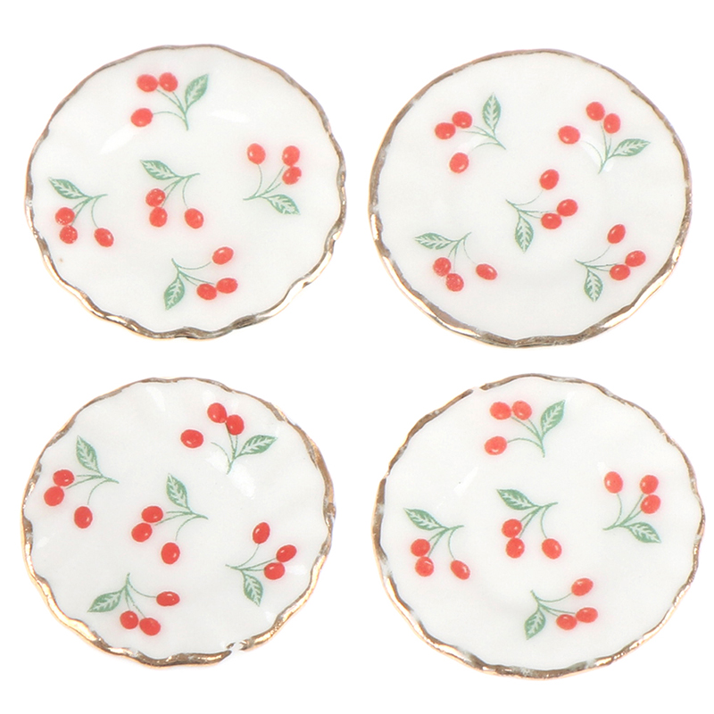 4PCS Kitchen Toys Dollhouse Cherry Trays Plates Doll Durable Mini Food Dishes Tableware Miniature Doll House Accessories