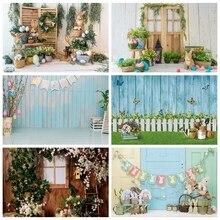 Laeacco wielkanoc tła drewniany dom zielona trawa kwiaty pisanki królik dzieci tła do fotografii portretowej Photocall