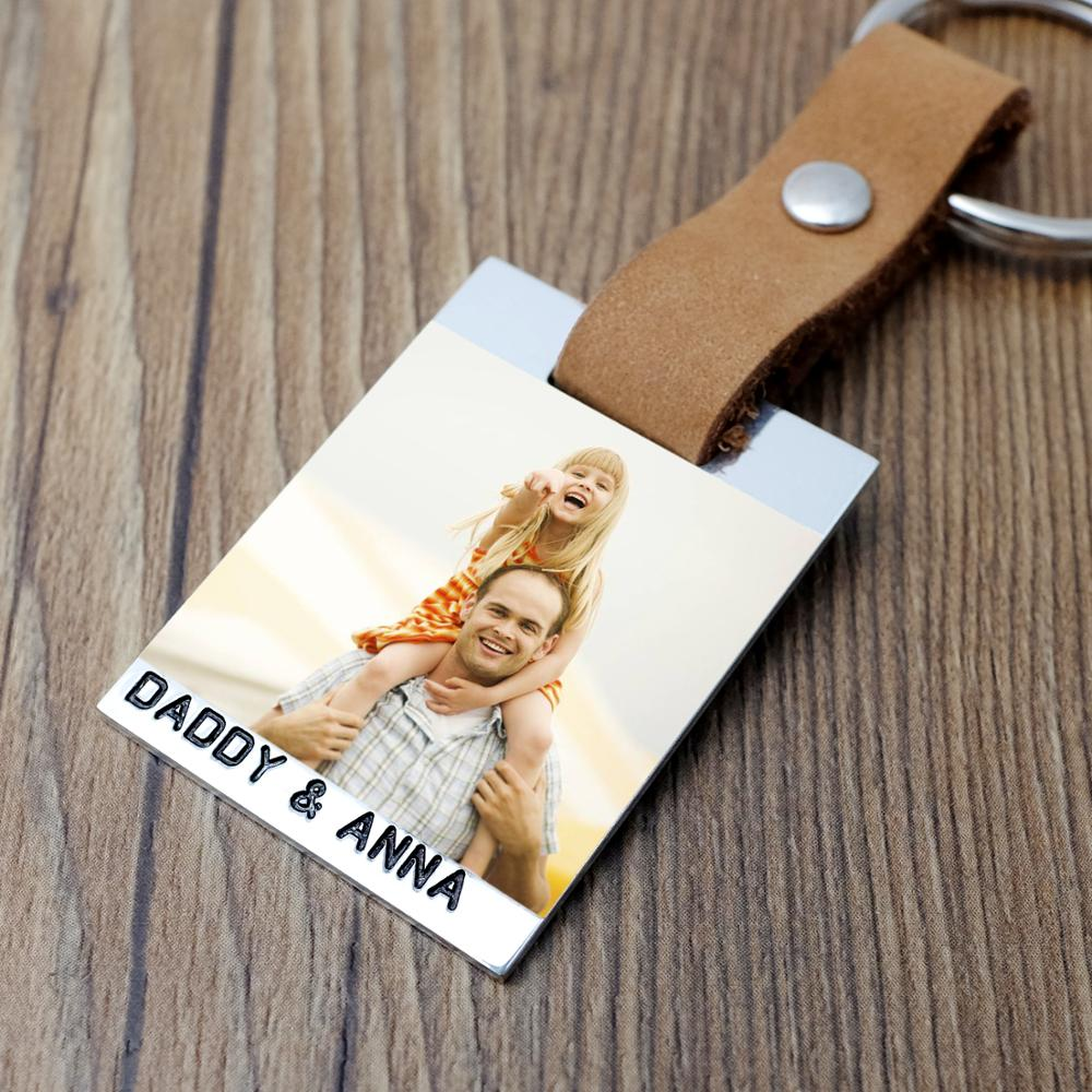Custom Photo Keychain Personalized Picture Keyring,Engraved Names Leather Keychain Father's Day Gift For Dad