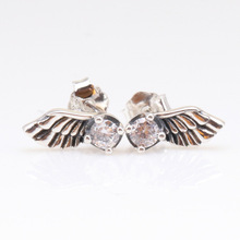 Original 925 Sterling Silver Angel Wing Pan Earrings Creative Feather Earring For Women Gift  Jewelry