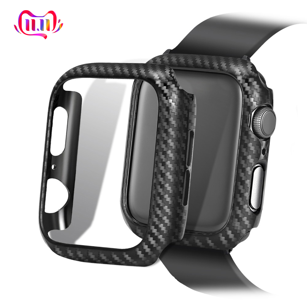 Screen Protective case For Apple Watch 4 5 3 iwatch 44/42mm 40/38mm Frame Carbon Protective Case covers Bumper watch Accessories image