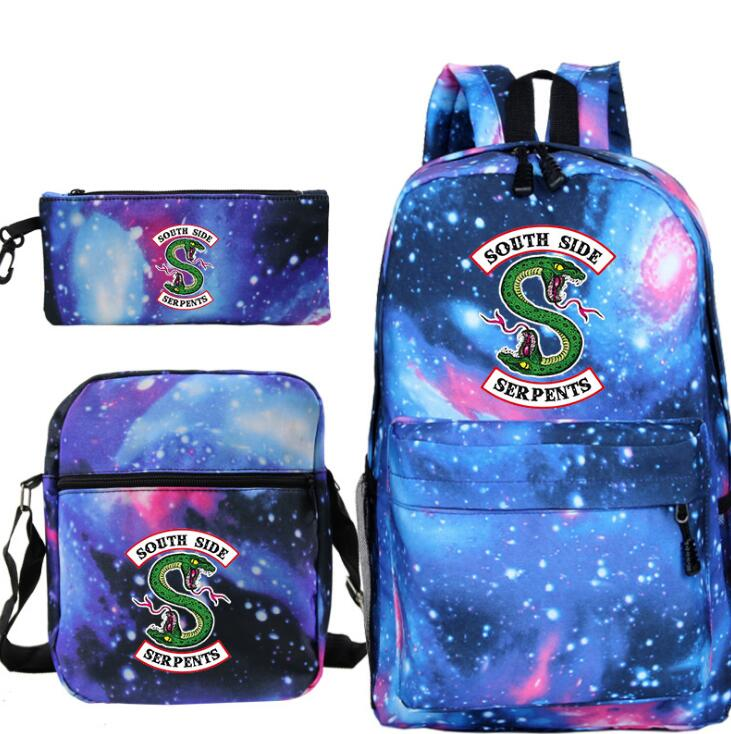 3pcs//Set Backpack Mens Canvas Travel Bookbags School Bags For Teenage Girls Boys
