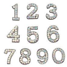 10Pcs DIY 0-9 Anzahl Applikation Glitter Strass Bestickte Patches Nähen Eisen Auf