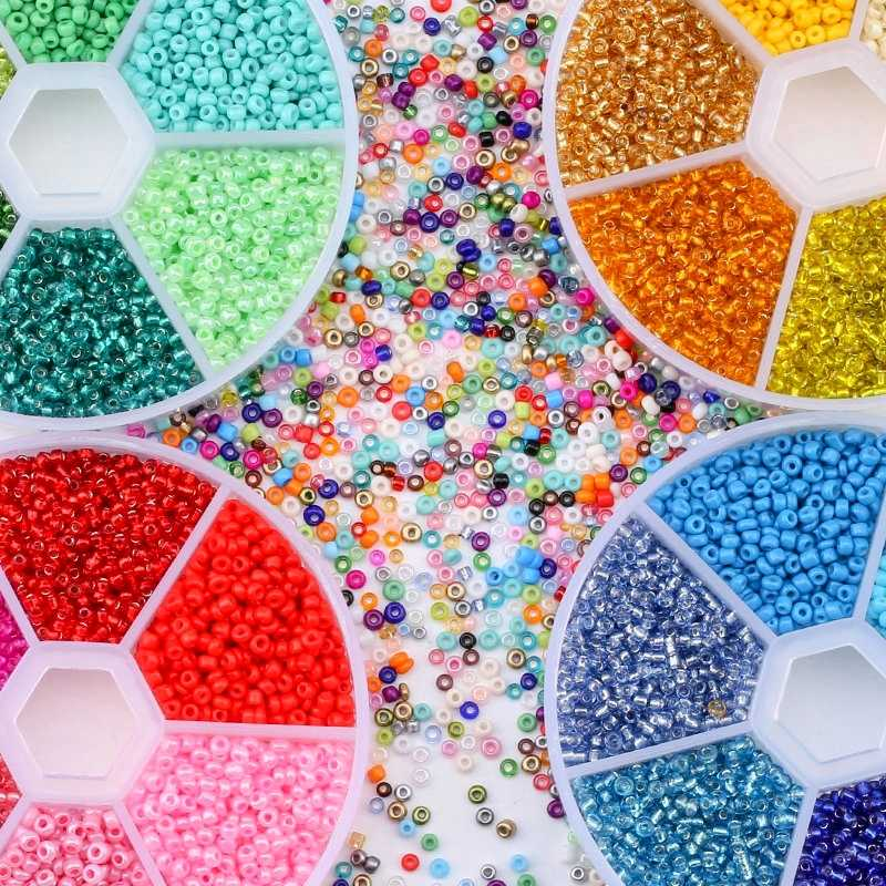 Wholesale 2 Mm Bahasa Swedia Biji Manik-manik Kaca Belt Box Set Pesona Seedbeads Rondelle Pengatur Jarak Manik-manik untuk DIY Gelang Kalung Perhiasan membuat