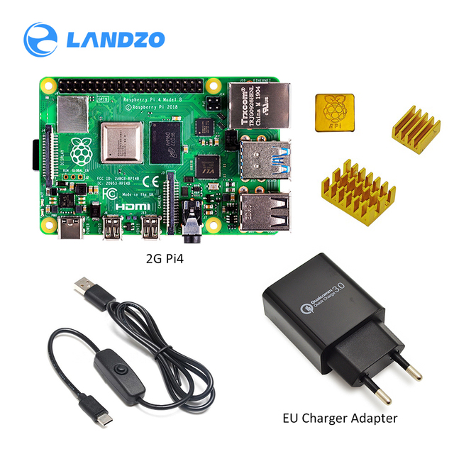 2019 new Original Raspberry Pi 4 Model B 2GB/4GB  Starter Kit with power switch line  EU/US Charger Adapte and 32G TF card