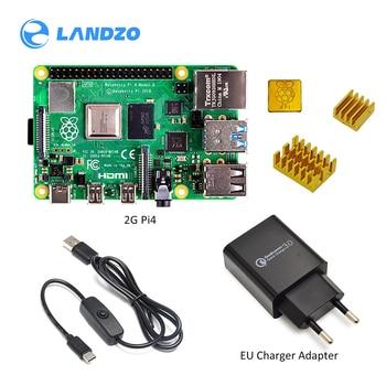 2019 nouveau Kit de démarrage d'origine framboise Pi 4 modèle B 2 GB/4 GB avec ligne de commutation électrique adaptateur chargeur ue/US et carte TF 32G