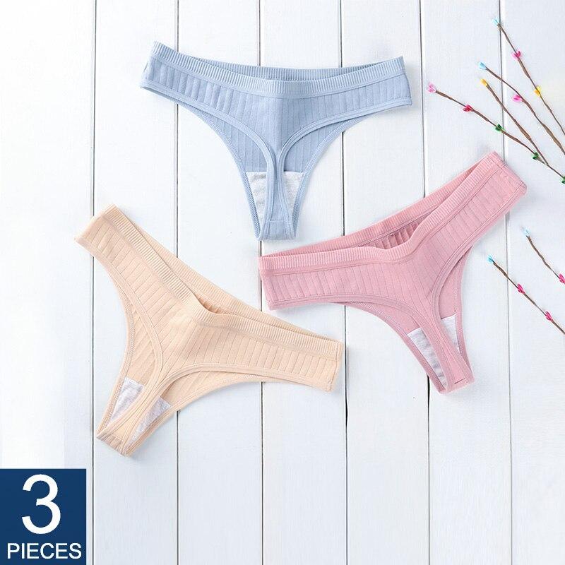 String en coton pour femmes String Sexy pour femmes String slips sous-vêtements Lingerie intime dames t-back taille basse 3 pièces/ensemble