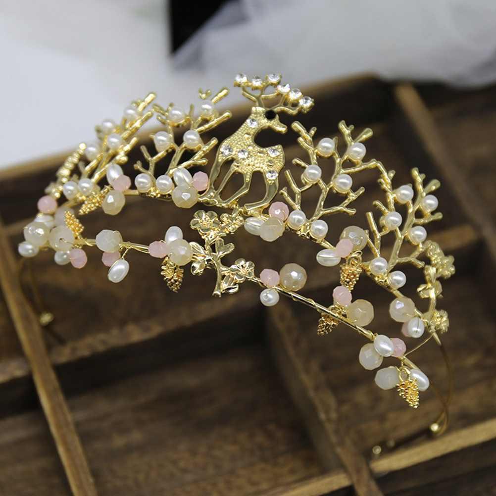 1pc mały jeleń tiara ozdoba na wierzch tortu złota korona Topper dekoracje na tort urodzinowy Topper korona ozdoby do włosów materiały ślubne