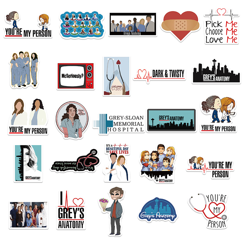 50PCS Classic American Drama Grey's Anatomy Stickers for Luggage Suitcase Laptop Car Phone PVC Decal Stickers Pegatina Gift