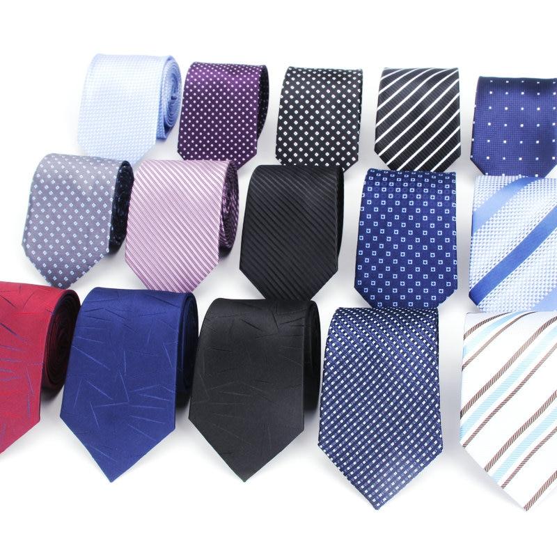 New Design Dot Plaid Jacquard Woven Silk Mens Ties Neck Tie 7cm Striped Ties For Men Business Suit Business Wedding Party