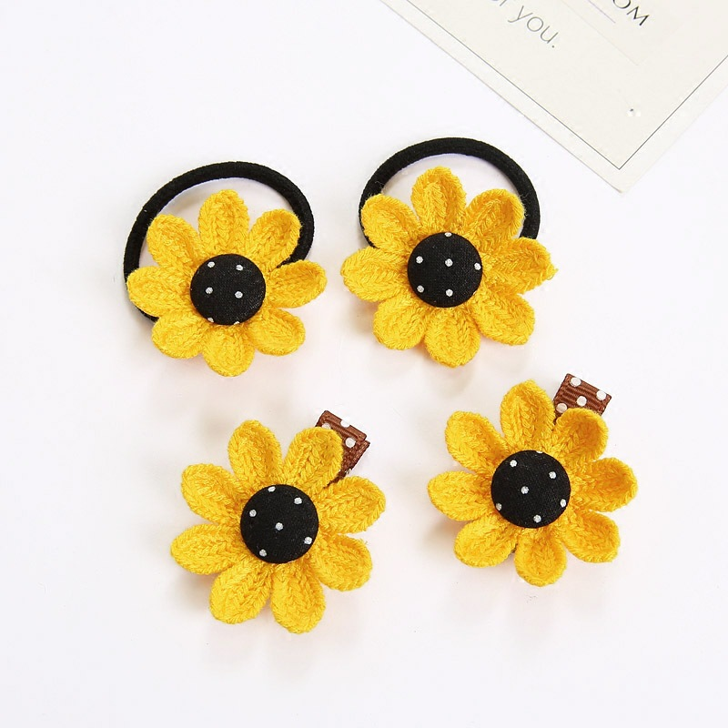 Korean-style Children Sun Flower Headdress Sunflower Hairtie Hairband Fresh Seaside Holiday Barrettes