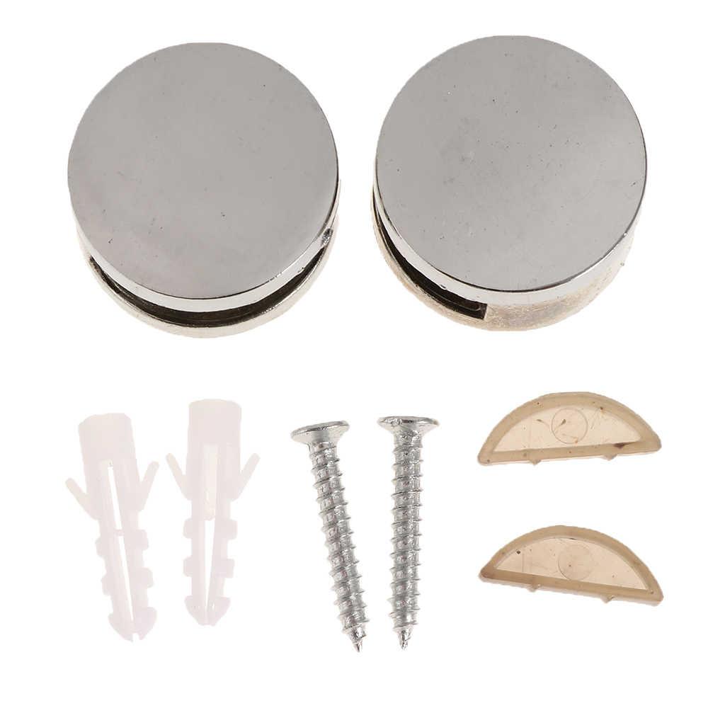 1 זוג מתכת סגסוגת עגול זכוכית מראה הרכבה מחזיק קליפ סט מהדק סוגר