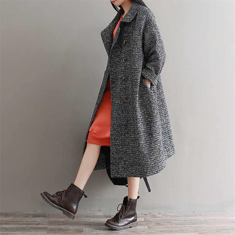 Большие размеры женская одежда пальто 2019 осень зима новая свободная Толстая Повседневная шерстяная куртка высококачественная одежда шерстяная верхняя одежда женская
