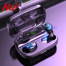 V5.0 bluetooth fones de ouvido controle toque hd estéreo sem fio esportes à prova dwaterproof água fone com 3500mah caixa carregamento