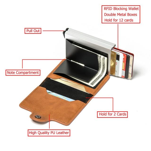 BISI GORO 2021 Smart Man Wallet Double Boxes Card Holder  RFID Blocking Anti-theft PU Leather Travel Money Case 3