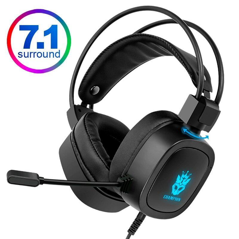 Gaming Headset 7,1 Virtuelle 3,5mm Wired Headset RGB Licht Spiel Kopfhörer mit Noise Cancelling Mikrofon für Laptop PS4 Gamer