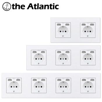 цена на Atlectric EU Standard Plug Socket Electrical Outlet Dual USB Charging Port Home Wall Power Socket Double Triple Quadruple Socket
