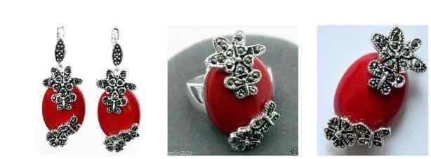 เครื่องประดับชุดไข่มุกแฟชั่นสีแดง Lacquer แกะสลัก Marcasite แหวนเงิน 925 (#7-10) ต่างหูและจี้ jewe จัดส่งฟรี