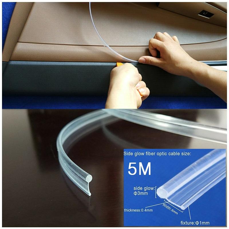 5 Meters Plastic Fiber Optic Fiber Optic Cable Light Guide Strip For Car Car Interior Lighting