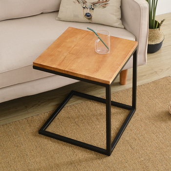 Nordic wrought iron small table living room square small  table side table solid wood sofa side coffee table solid wood coffee table round small table simple sofa side table nordic side table