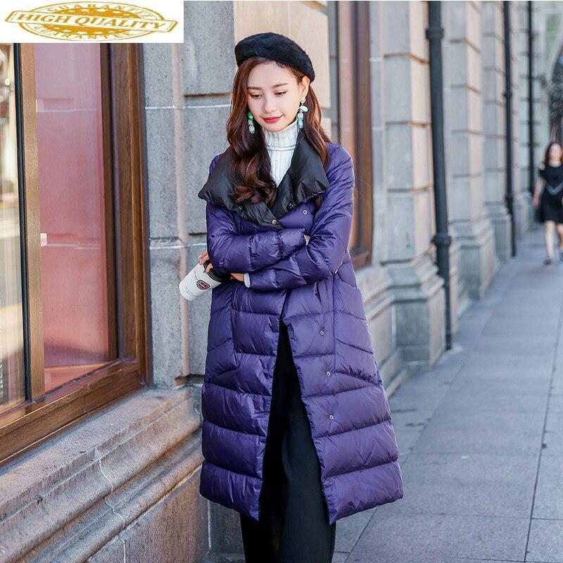 Ultra Light Down Jacket Women Double-side Wear Long Coat 2019 Winter Jacket Women Korean Slim Parka Abrigo Mujer MY1491