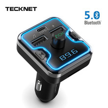 Tecknet Bluetooth 5.0 FM Transmitter 5 V/2.4A Dual Usb Mobil Charger Nirkabel Handsfree Audio Receiver Auto MP3 Pemain USB Charger(China)