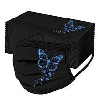 Mascarilla desechable con estampado de mariposa para hombre y mujer, máscara facial de 3 capas con sujeción para las orejas, color negro, 10/50 Uds.