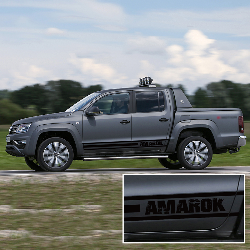 Free Shipping Car Accessories 2 Pieces Side Door Stripe Decals Graphic Vinyl Car Sticker Custom Fit For Vw Amarok 2009-2018