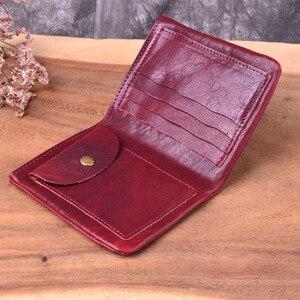 Image 5 - Aetoo novo artesanal original primeira camada de couro curto parágrafo pequena carteira de couro dos homens pequena carteira retro antigo vintage