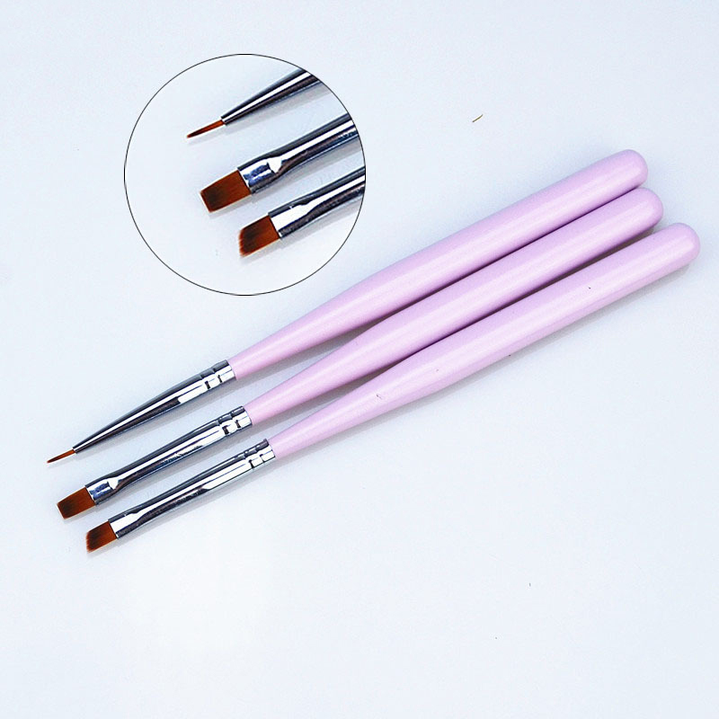 3pcs/set Pink Handle Nylon Paint Brush Different Shape Watercolor Nail Brush Pen For Students Girls School Office Art Supplies