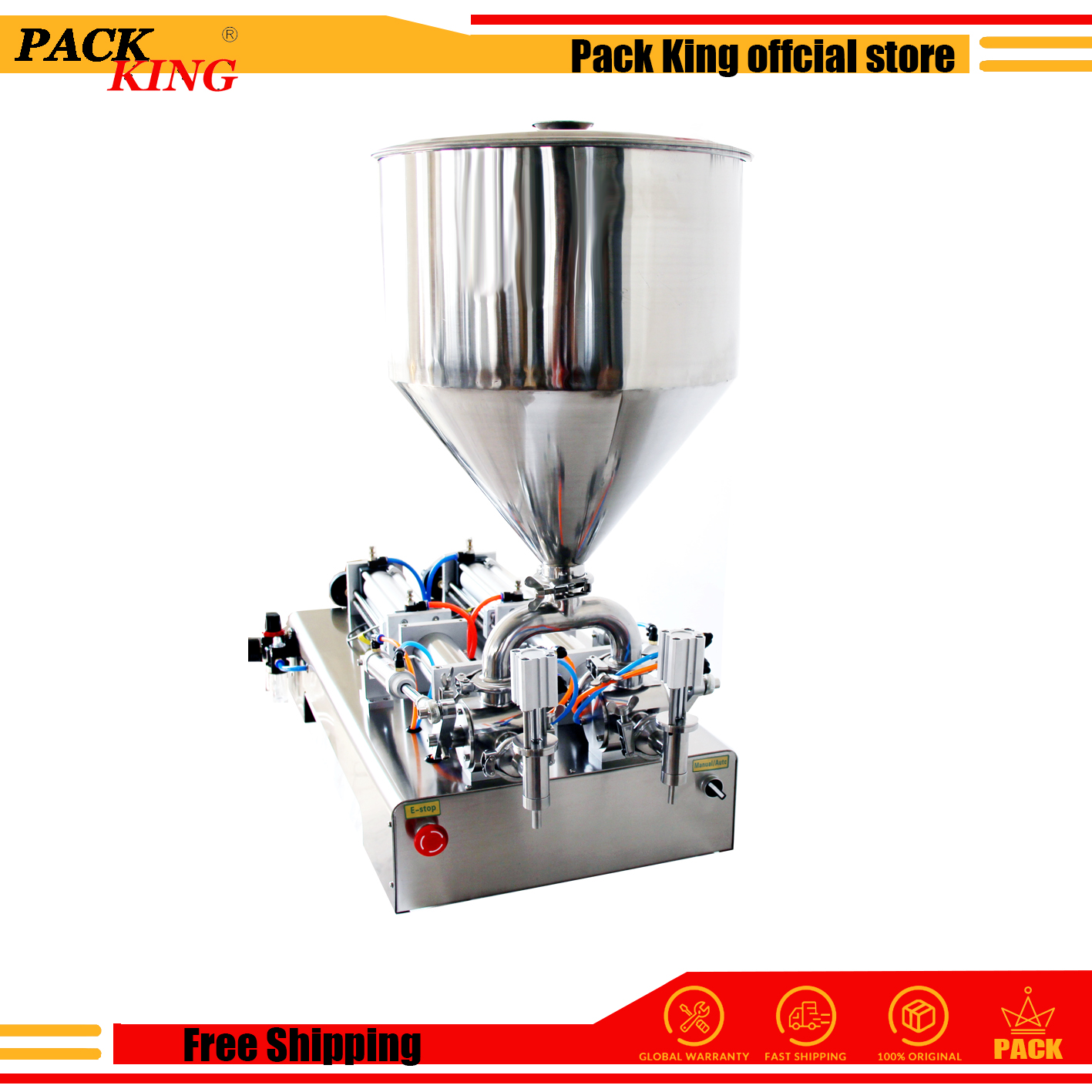 Liquid Paste Filling Machine Pneumatic Semi Aut Filler Double Heads Cylinders Shampoo Lotion Cream Piston Filler