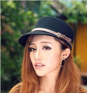 Image 5 - 冬の女性の固体カラー八角帽子女性党のfedora帽子ファッションキャスケットキャップ100% ウール馬術キャップ56 58センチメートル