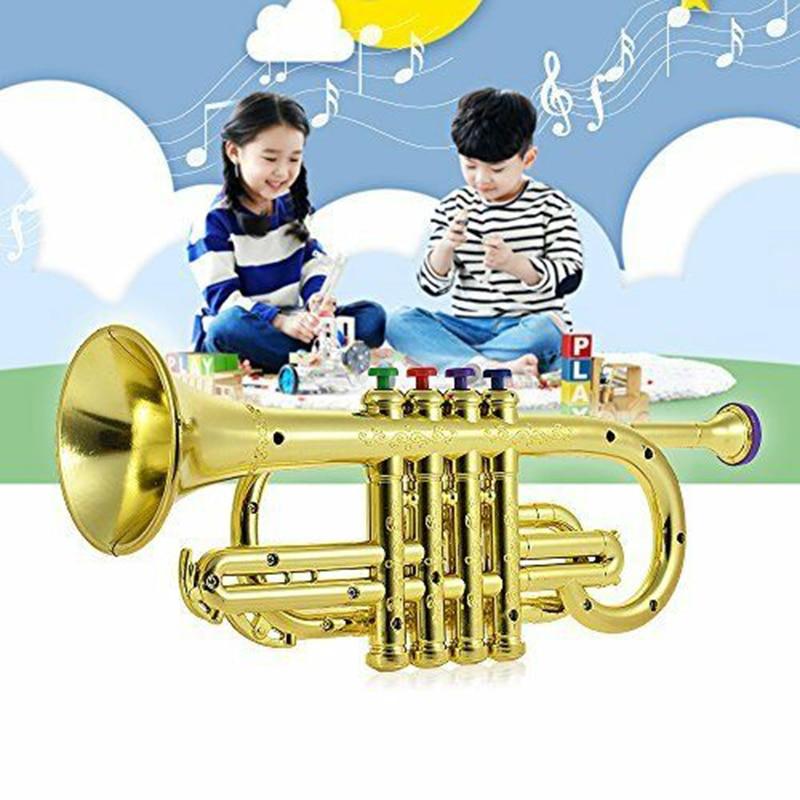 Trumpet Horn With 4x Keys Educational Developmental Golden Musical Toys For Kids