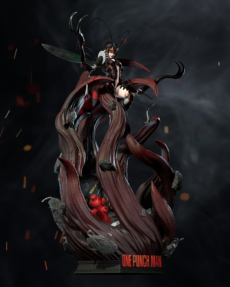 Mosquito Girl Comic Version One Punch Man GK Limited Statue Figure 1