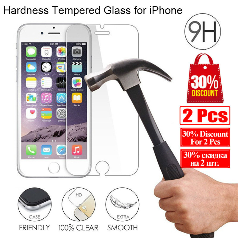 Protective Glass For IPhone 11 Pro Max X XS XR 5 5S Tempered Glass For IPhone 8 6 6S Clear Glass Screen Protector For IPhone 7