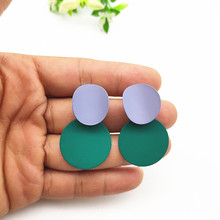 2019 Irregular Painted Pendant Drop Earrings 25mm Round Metal Geometric Fashion Party Jewelry Big for Women