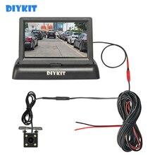"""DIYKIT 4,3 """"Foldabl Monitor de coche TFT LCD vehículo vista trasera copia inversa LED del coche de la cámara de vídeo de aparcamiento sistema de fácil instalación"""