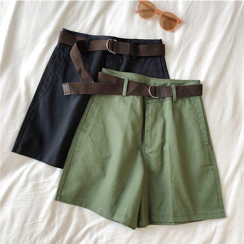 Genayooa Casual Shorts Women Fitness Wide Leg Black High Waist Shorts With Belt Office Lady Vintage Shorts Feminino Plus Size 3