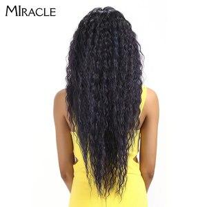"""Image 5 - Miracle Hair Ombre Pruik Kinky Krullend Diepe Middelste Deel Lace Pruiken 150 Dichtheid Lange 28 """"Hittebestendige Synthetische Pruiken voor Zwarte Vrouwen"""